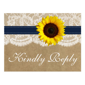 The Kraft, Lace & Sunflower Collection - Navy Postcard