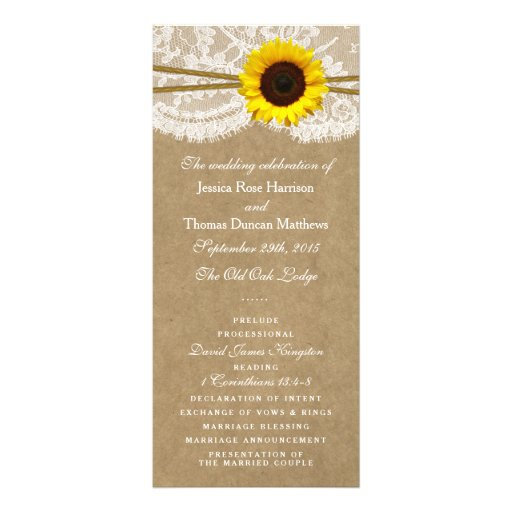 The Kraft, Lace & Sunflower Collection Programs Rack Card