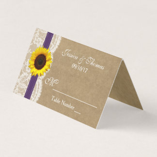 The Kraft, Lace & Sunflower Collection - Purple Place Card