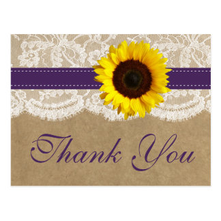 The Kraft, Lace & Sunflower Collection - Purple Postcard