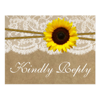 The Kraft, & Lace Sunflower Collection RSVP Postcard