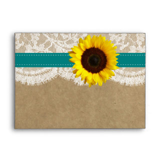 The Kraft, Lace & Sunflower Collection - Teal Envelope