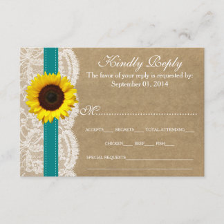 The Kraft, Lace & Sunflower Collection - Teal RSVP Card