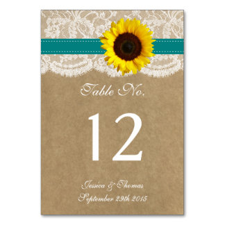 The Kraft, Lace & Sunflower Collection - Teal Table Number