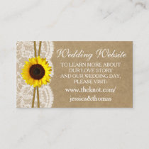 The Kraft, Lace & Sunflower Collection Website Enclosure Card