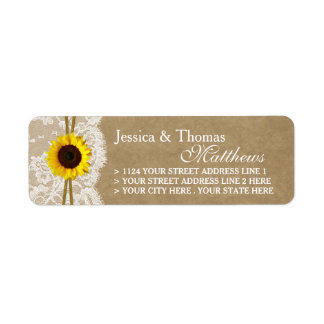 The Kraft, Lace & Sunflower Wedding Collection Label