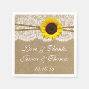 The Kraft, Lace & Sunflower Wedding Collection Paper Napkin