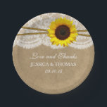 "The Kraft, Lace &amp; Sunflower Wedding Collection Paper Plate<br><div class=""desc"">The rustic kraft, lace &amp; sunflower collection is a stunning design featuring a lovely sunflower with twine on a rustic kraft effect background finished with romantic vintage white lace. These paper plates can be personalized for your special occasion and would make the perfect item for any rustic themed wedding, bridal...</div>"