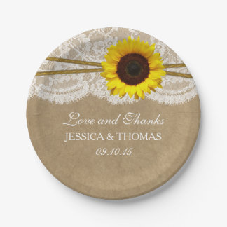 The Kraft, Lace & Sunflower Wedding Collection Paper Plate