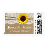 The Kraft, Lace & Sunflower Wedding Collection Postage Stamps
