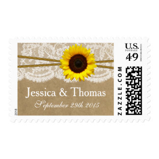 The Kraft, Lace & Sunflower Wedding Collection Postage Stamp