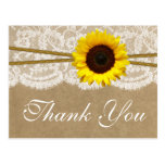 The Kraft, Lace & Sunflower Wedding Collection Postcard