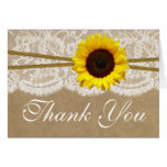 The Kraft, Lace & Sunflower Wedding Collection Stationery Note Card