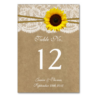 The Kraft, Lace & Sunflower Wedding Collection Table Card