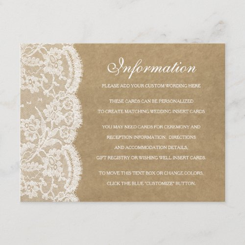 The Kraft  Lace Wedding Collection Detail Cards