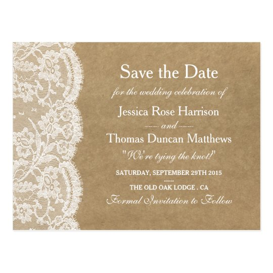 The kraft lace wedding collection save the date postcard Collect and save