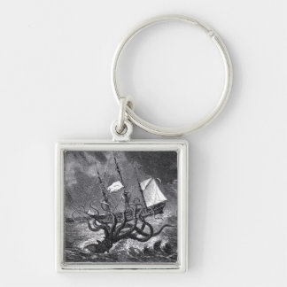 The Kraken Silver-Colored Square Keychain
