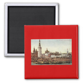 The Kremlin, Moscow, Russia 1915 Vintage 2 Inch Square Magnet
