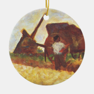 The Laborers by Georges Seurat Ceramic Ornament