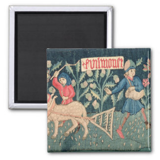 The Labours of the Months, Alsace (tapestry)Vict 2 Inch Square Magnet
