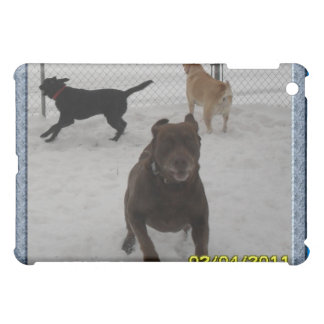 the labs playing in the snow iPad mini case