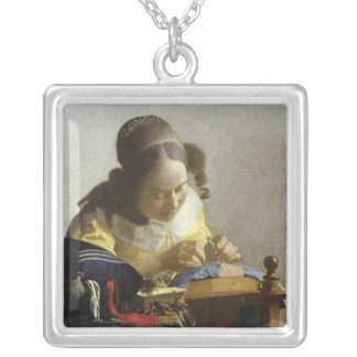The Lacemaker, 1669-70 Square Pendant Necklace
