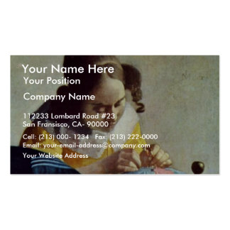 The Lacemaker, Français La Dentelière,  By Vermeer Double-Sided Standard Business Cards (Pack Of 100)