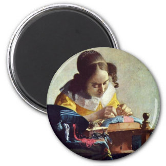 The Lacemaker, Français La Dentelière,  By Vermeer 2 Inch Round Magnet