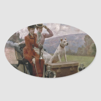 The Ladies Goldsmith in Woods of Boulogne Oval Sticker