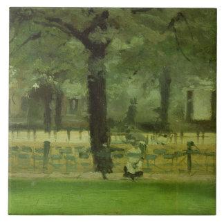 The Ladie's Mile, Kensington Gardens (oil on panel Tile