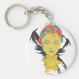 The Lady and the Flower Basic Round Button Keychain