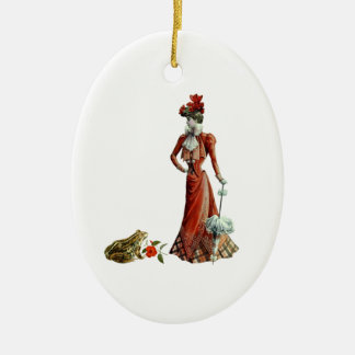 The Lady And The Frog Ceramic Ornament
