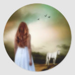 THE LADY AND THE HORSE CLASSIC ROUND STICKER
