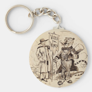 The Lady and the Tiger by Clifford K. Berryman Basic Round Button Keychain