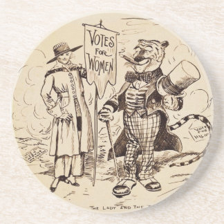 The Lady and the Tiger by Clifford K. Berryman Beverage Coasters