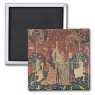 The Lady and the Unicorn: 'Hearing' 2 Inch Square Magnet