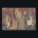 """The Lady and the Unicorn: &#39;Hearing&#39; Placemat<br><div class=""""desc"""">French School&#39;s The Lady and the Unicorn: &#39;Hearing&#39; located at the Musee National du Moyen Age et des Thermes de Cluny,  Paris. The The Lady and the Unicorn: &#39;Hearing&#39; was created around the 15th century.</div>"""