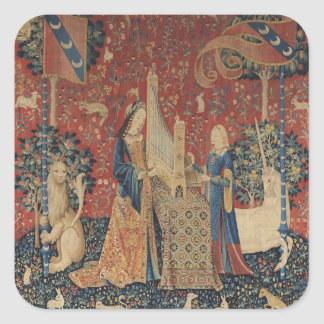 The Lady and the Unicorn: 'Hearing' Square Sticker