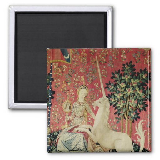 The Lady and the Unicorn: 'Sight' 2 Inch Square Magnet