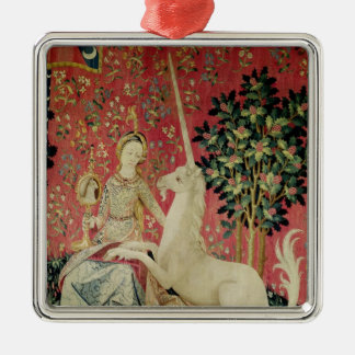 The Lady and the Unicorn: 'Sight' Metal Ornament