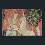 "The Lady and the Unicorn: &#39;Sight&#39; Placemat<br><div class=""desc"">French School&#39;s The Lady and the Unicorn: &#39;Sight&#39; located at the Musee National du Moyen Age et des Thermes de Cluny,  Paris. The The Lady and the Unicorn: &#39;Sight&#39; was created around the 15th century.</div>"