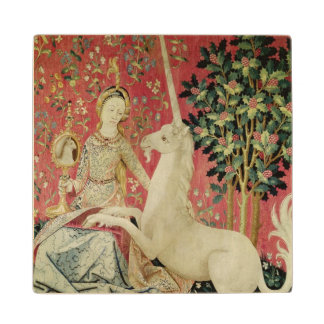 The Lady and the Unicorn: 'Sight' Wooden Coaster