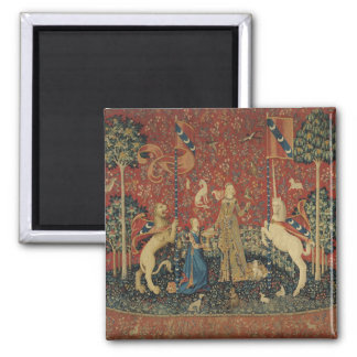 The Lady and the Unicorn: 'Taste' 2 Inch Square Magnet