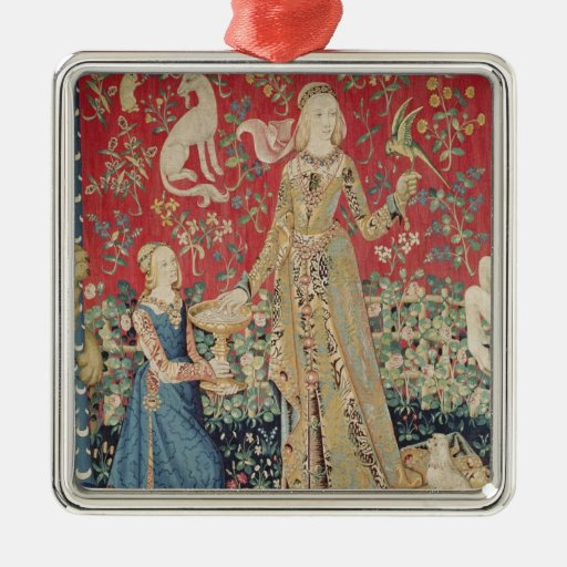 The Lady and the Unicorn: 'Taste' Square Metal Christmas Ornament