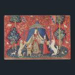 """The Lady and the Unicorn: &#39;To my only desire&#39; 2 Placemat<br><div class=""""desc"""">French School&#39;s The Lady and the Unicorn: &#39;To my only desire&#39; located at the Musee National du Moyen Age et des Thermes de Cluny,  Paris. The The Lady and the Unicorn: &#39;To my only desire&#39; was created around the 15th century.</div>"""