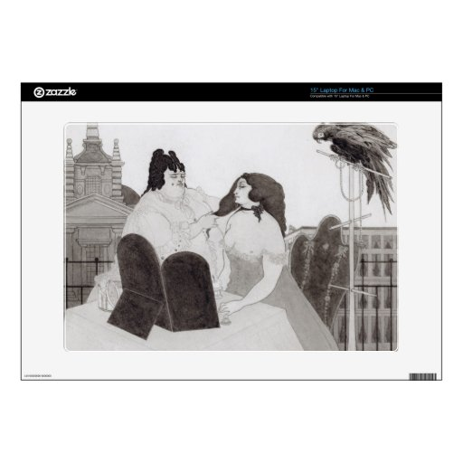 """The Lady at the Dressing Table (ink and wash) 15"""" Laptop Decals"""