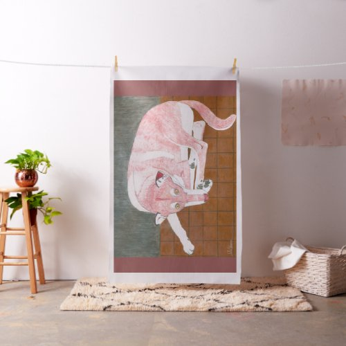 The Lady Dog Drawing by Julia Hanna Fabric