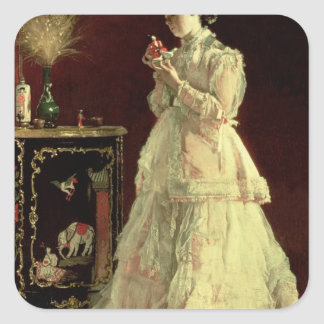 The Lady in Pink, 1867 Square Sticker