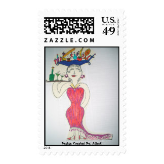 The Lady in Red Cocktail dress Postage