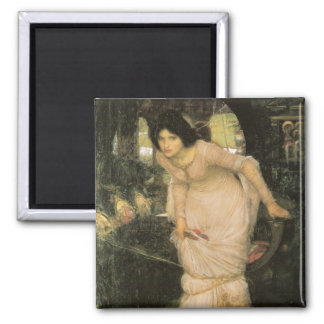The Lady of Shalott Looking at Lancelot 2 Inch Square Magnet